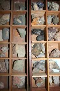 Mineral specimen case built by Thoreau from scrap mahogony