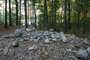Heap of stones just east of Thoreau's house site, nearly all of which were dropped one at a time by separate visiting pilgrims