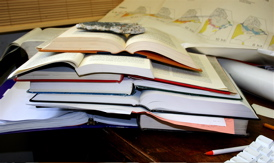 """Random stack of books that grew spontaneously during bibliographic editing of """"Beyond Walden: The Hidden History in America's Kettle Lakes and Ponds."""""""